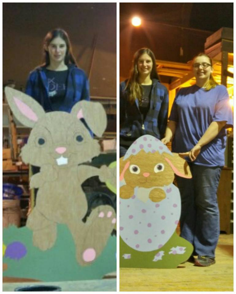 Rabbit cutouts under construction by Laura & Melissa, 2016