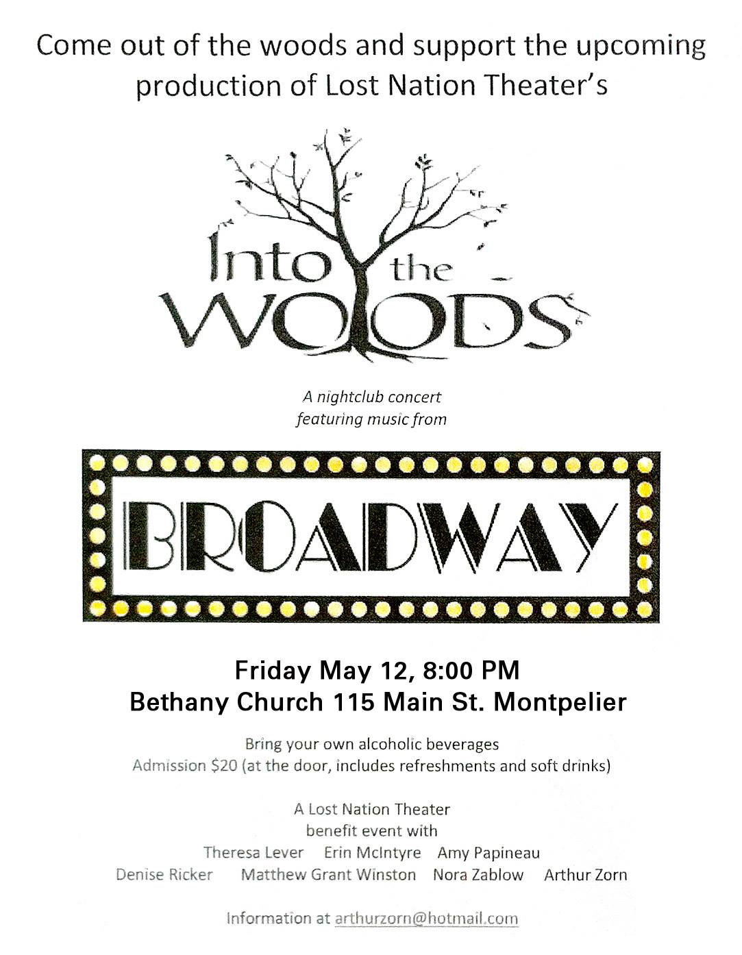 "poster for the Broadway Cabaret, with Broadway in typical style lettering surrounded by Marquee lights. In black & white, also features a sketch of a tree growing out of ""Into the Woods"" show title"