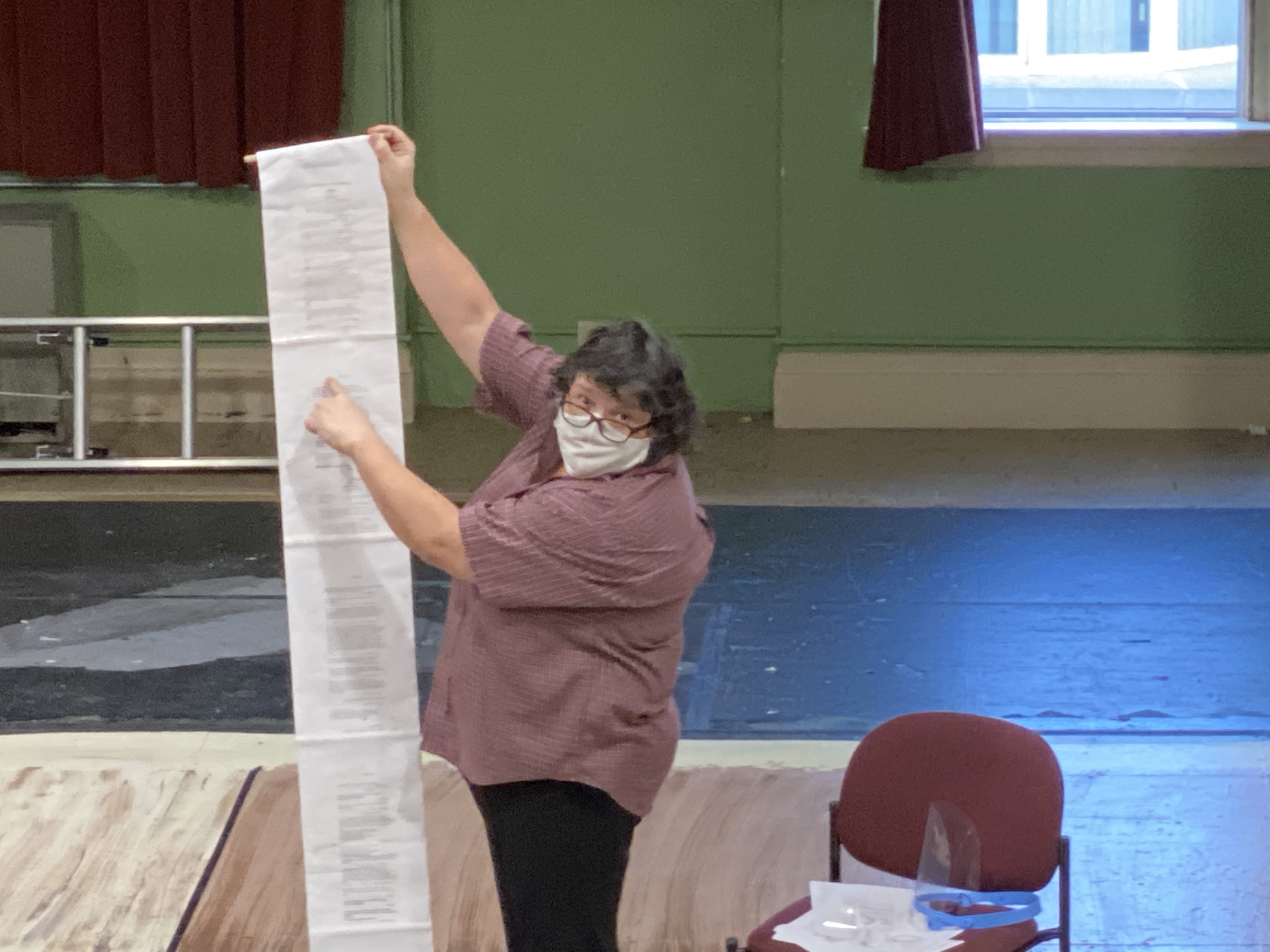 Ann Harvey explains scrolls & first folio during rehearsal for Lost Nation Theater's Midsommer Nights Dreame