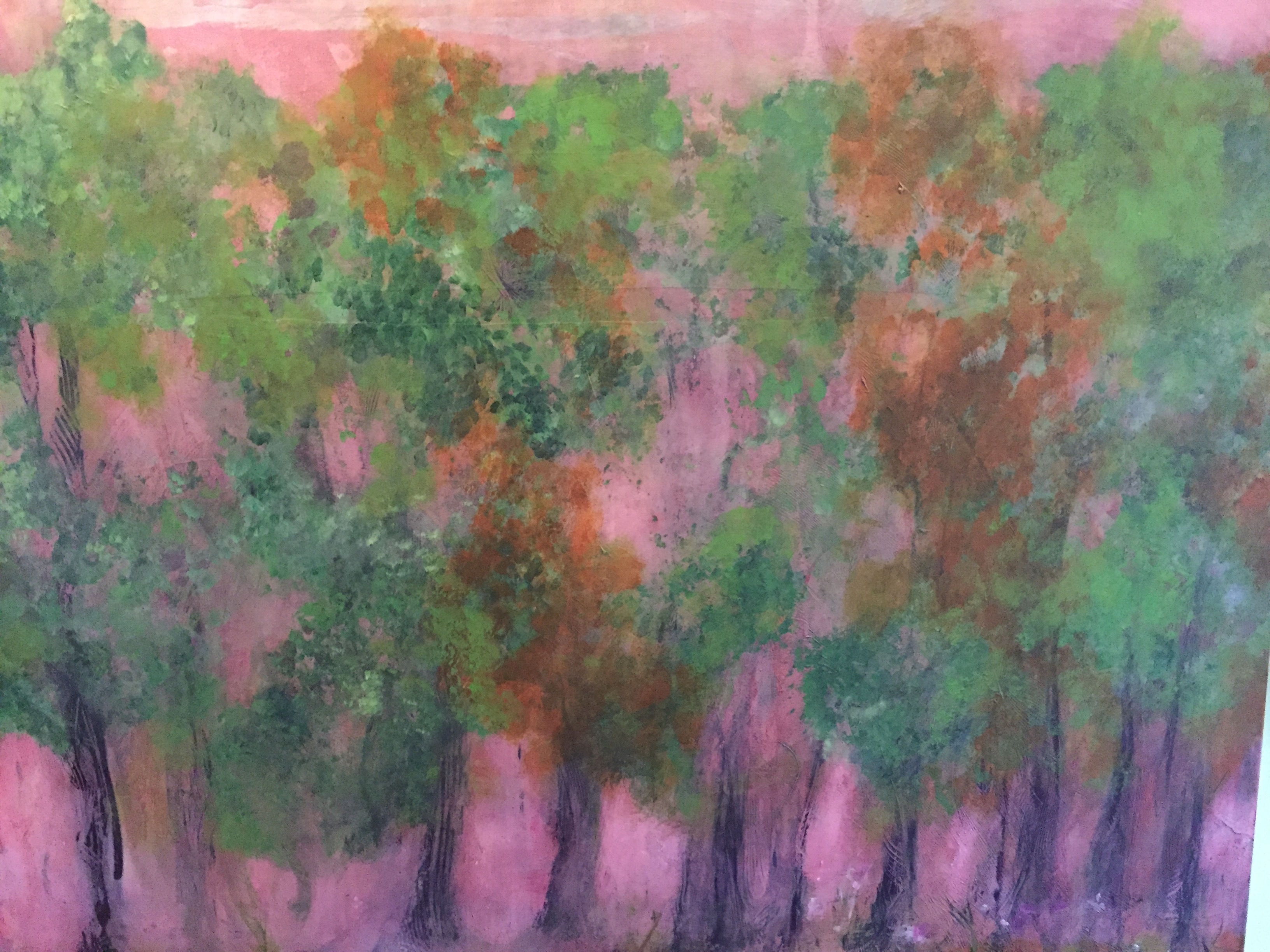 atmospheric, impressionist green trees with mauve flowers/leaves