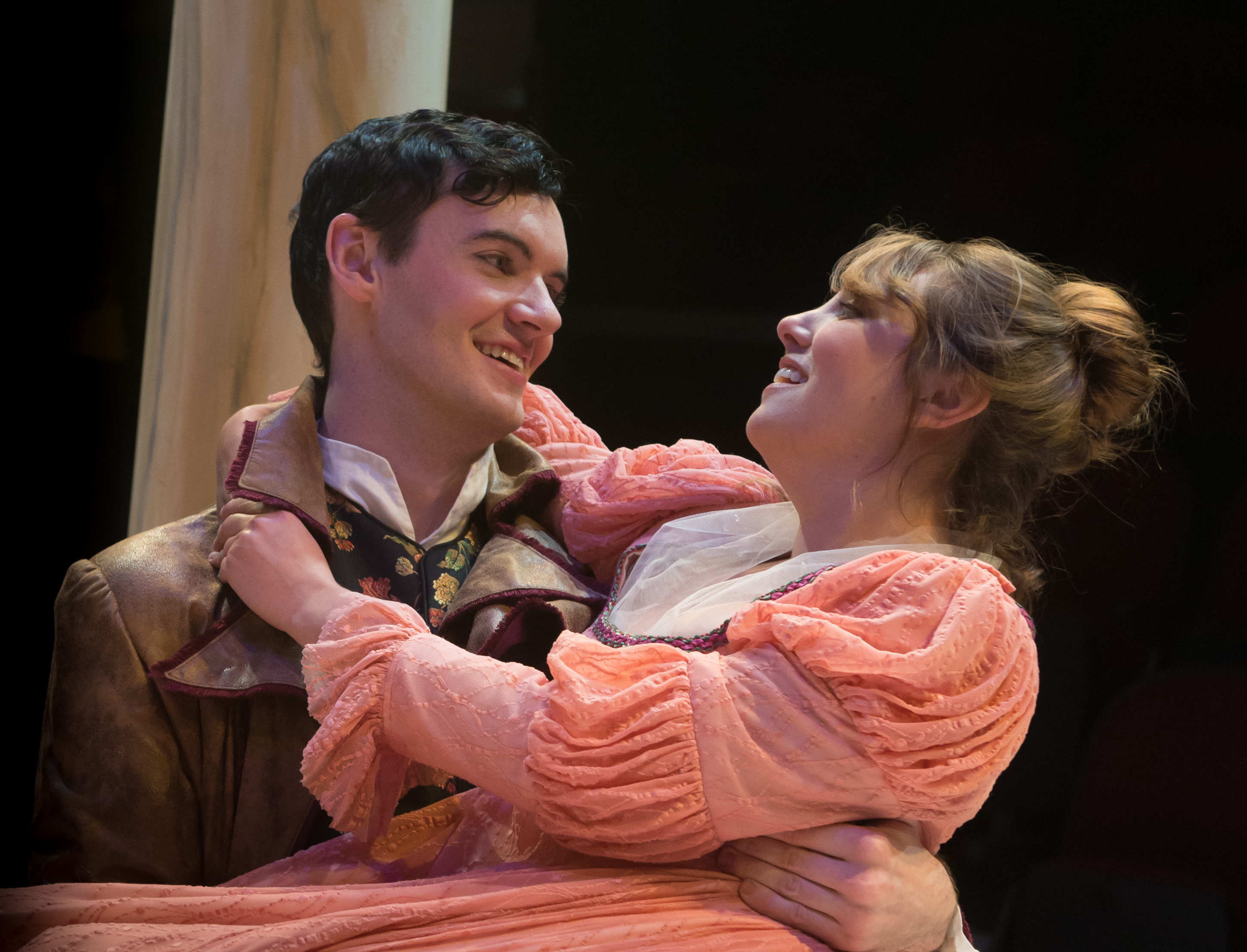 Willoughby literally sweeps Marianne off her feet in LNT's Sense & Sensibility. Photo by Robert Eddy