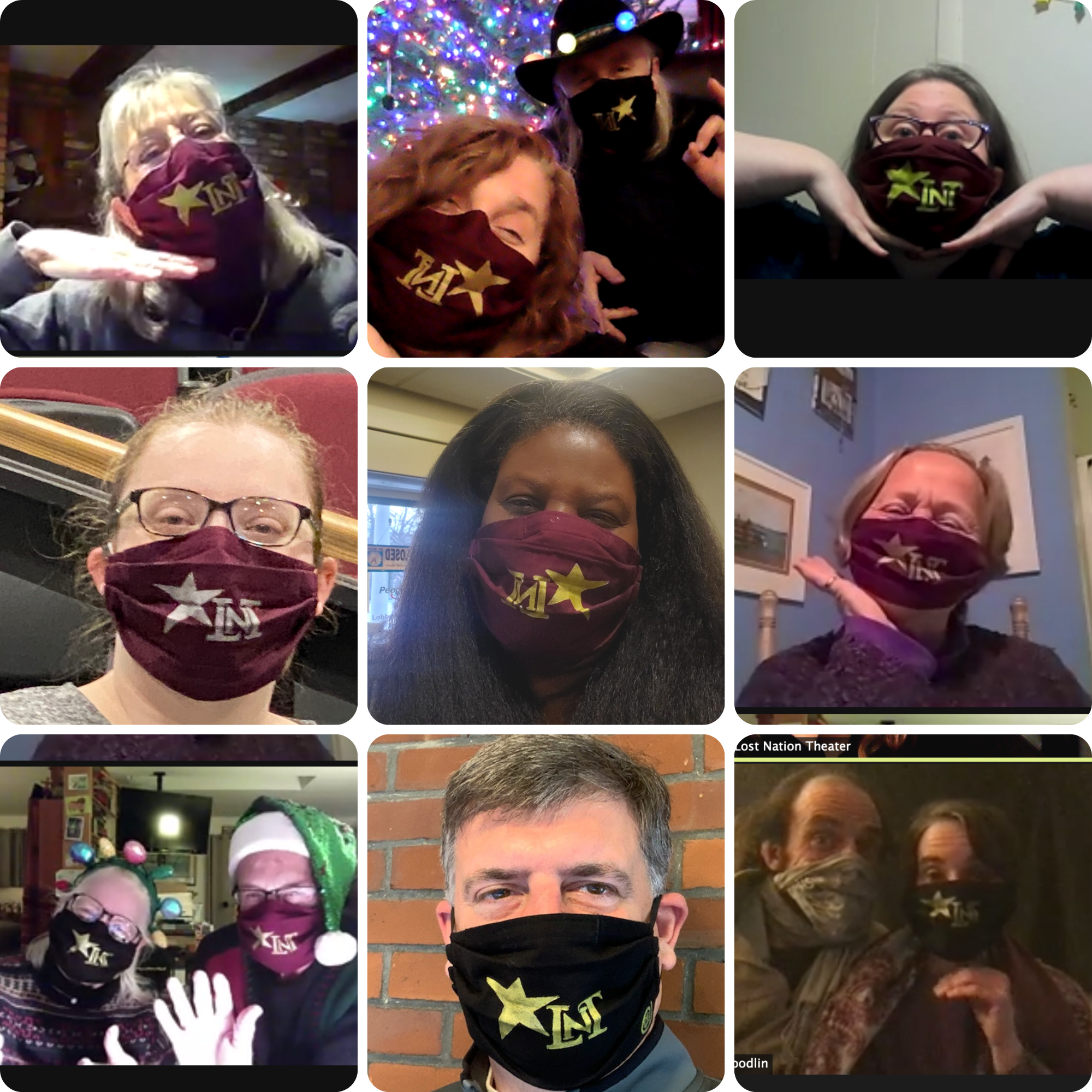 LNT Board Members and volunteers model their LNT Face Masks