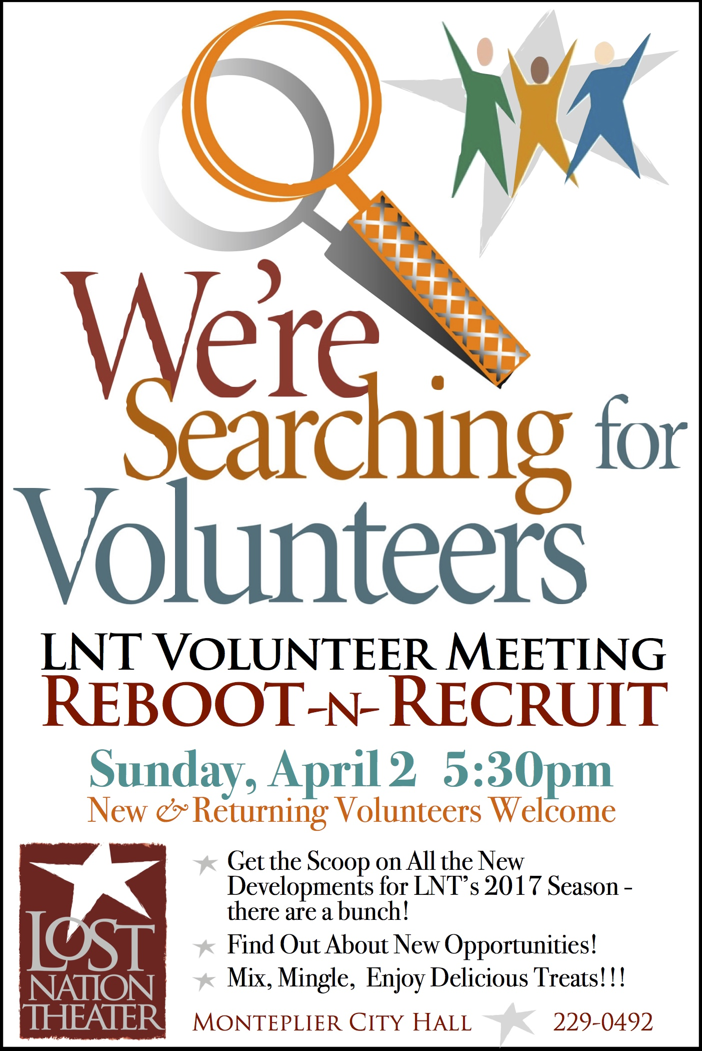 ad for LNT's volunteer meeting- we're searching for volunteers with spyglass