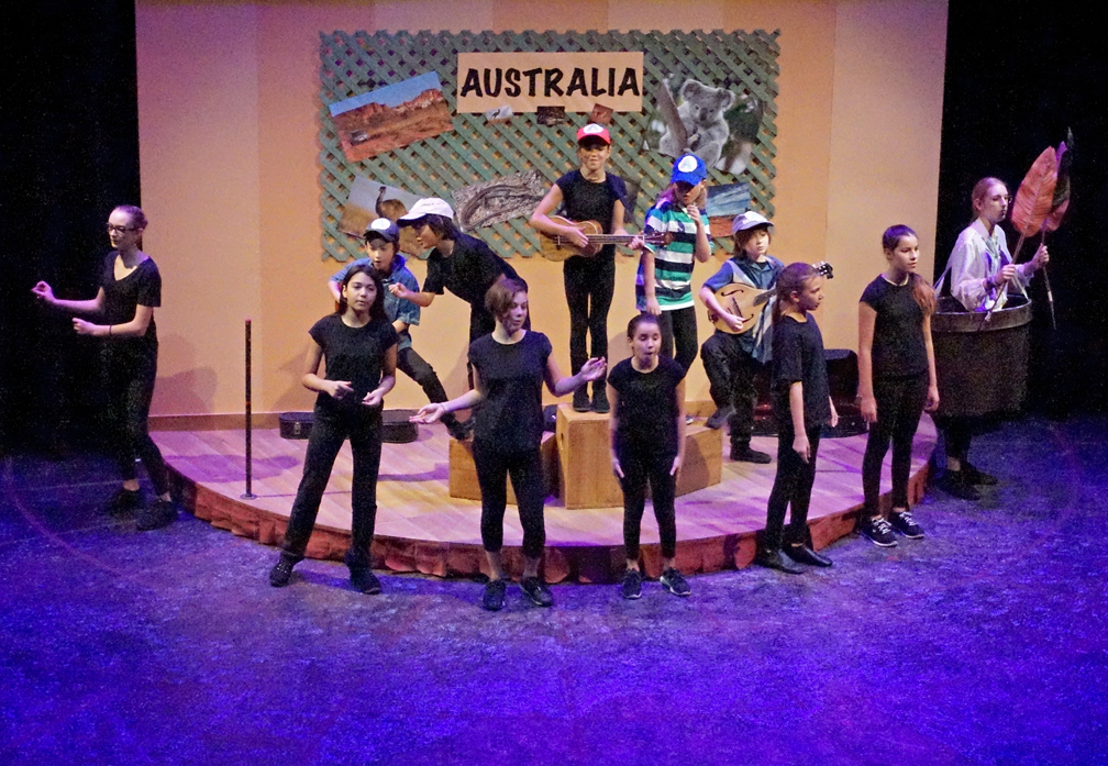 "the cast singing the Australia song on the ""Australia"" set"