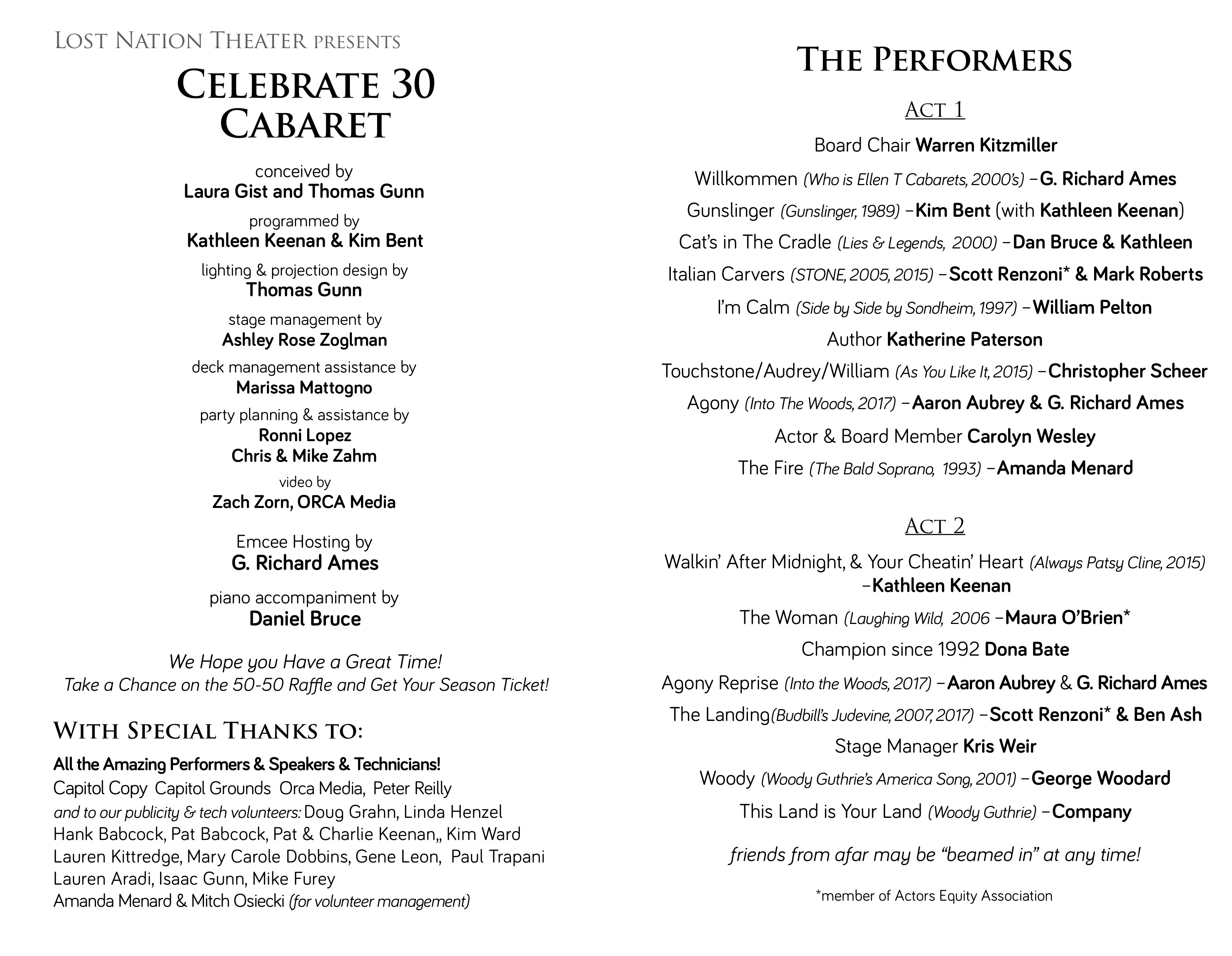 playbill & performer credits from our celebrate 30 cabaret