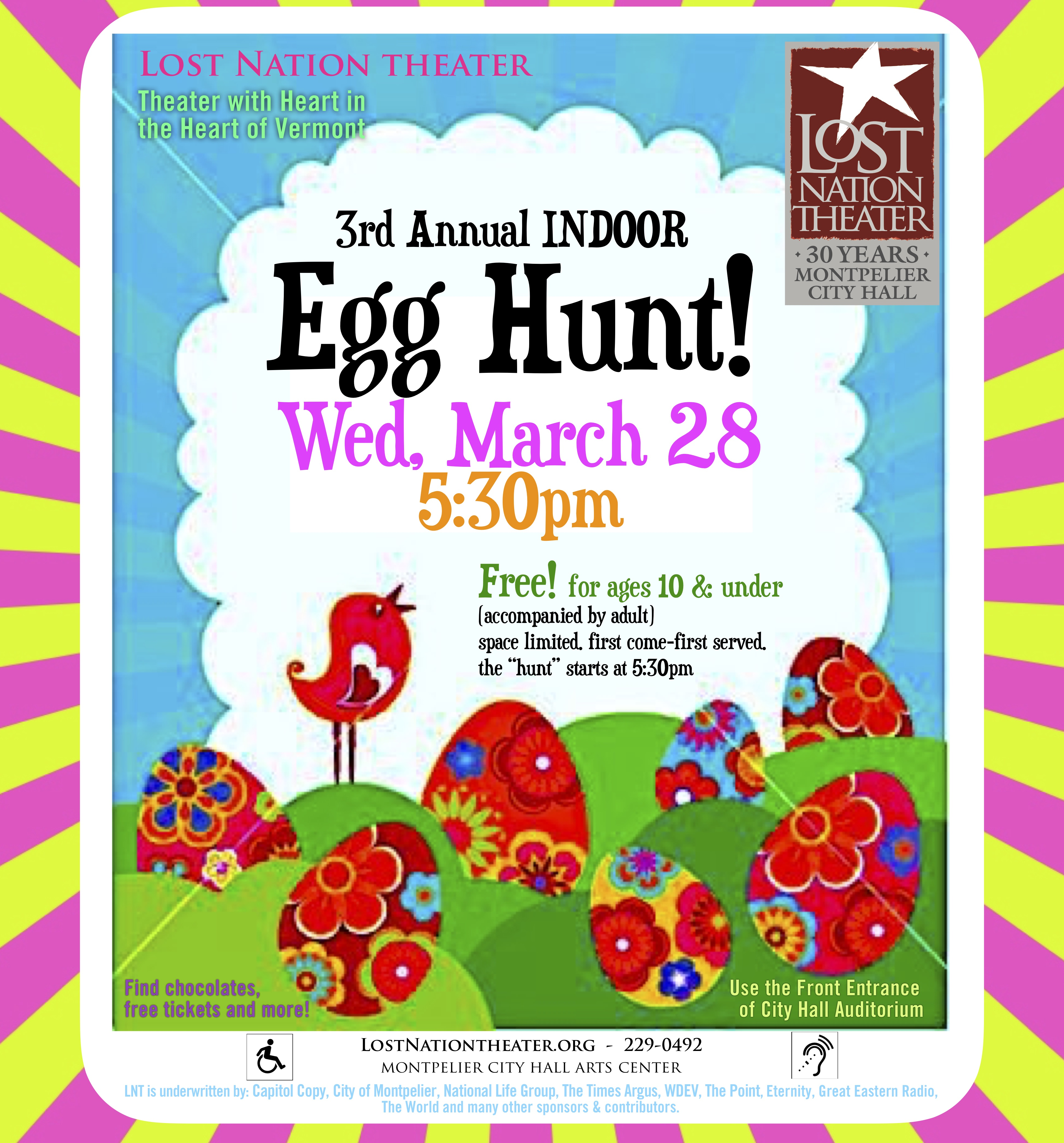 picture of LNT sandwich board poster for Egg Hunt 2018