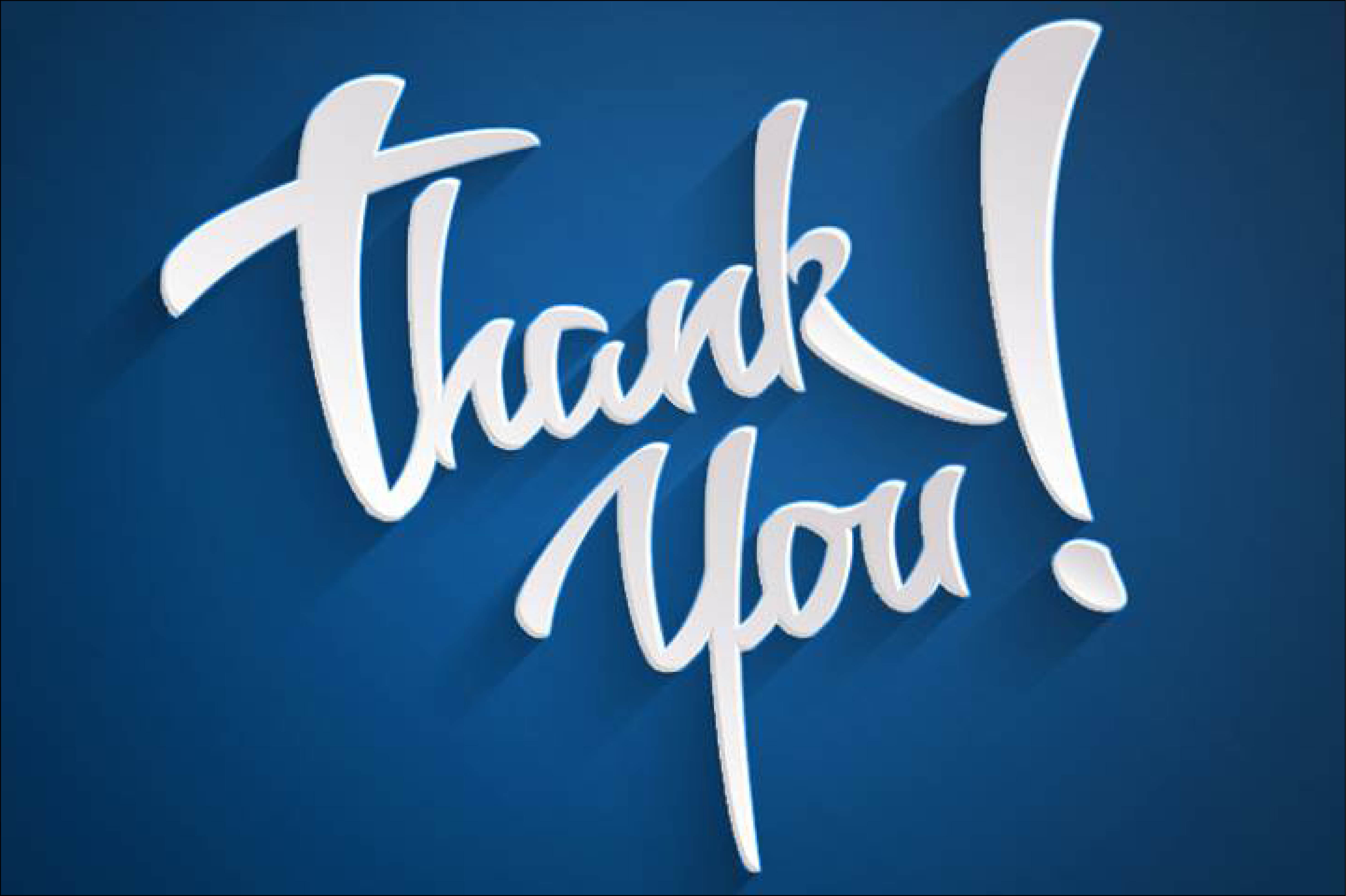 graphic of giant script thank you written in white on blue background