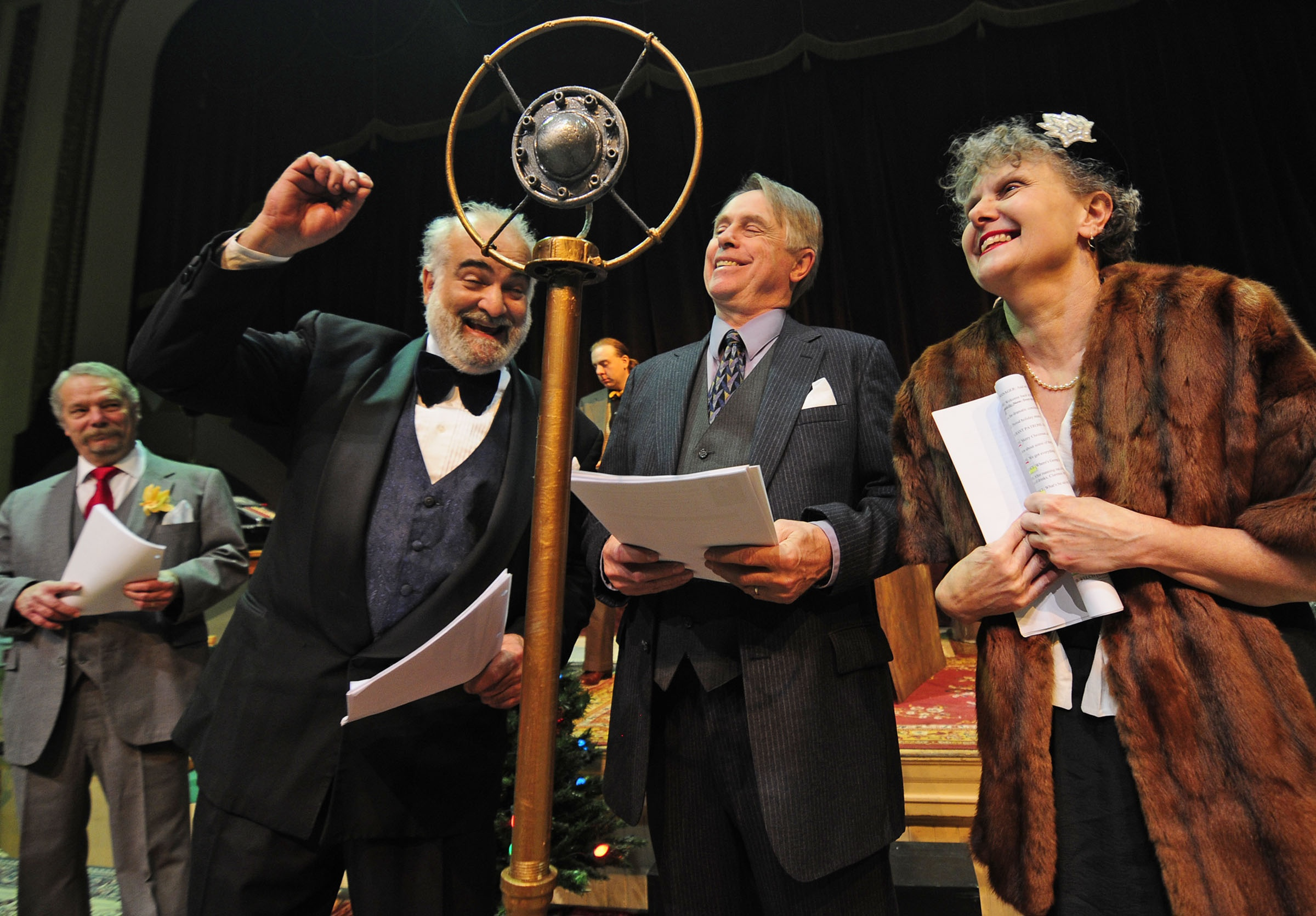 cast cheers for money being raised - photo by Stefan Hard, the Times Argus