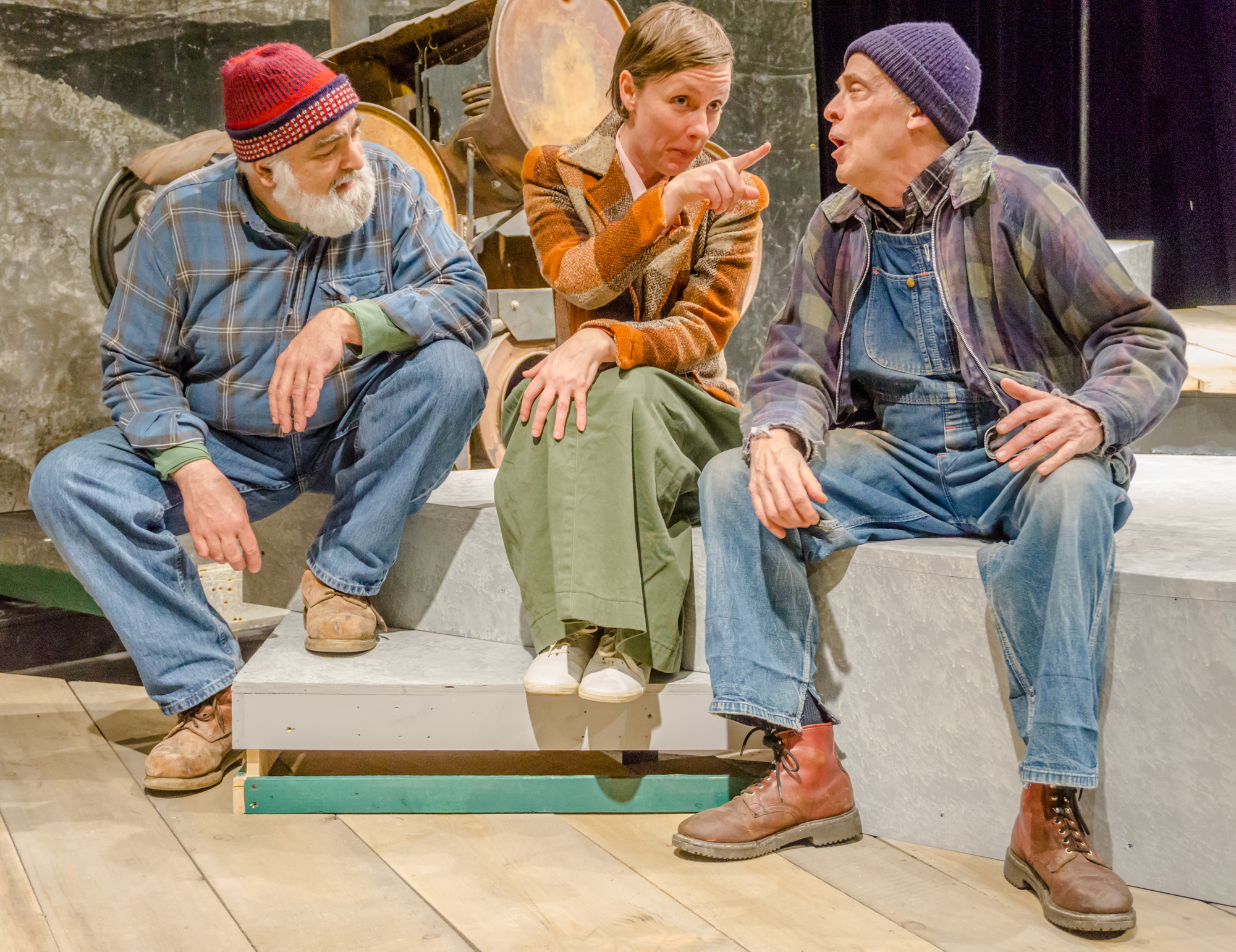 "Abby Paige as ""Edith"" in David Budbill's Judevine. Edith is gossiping at the roller rink with Conrad (Bob Nuner) and Doug (Mark Roberts) photo courtesy of John Snell"