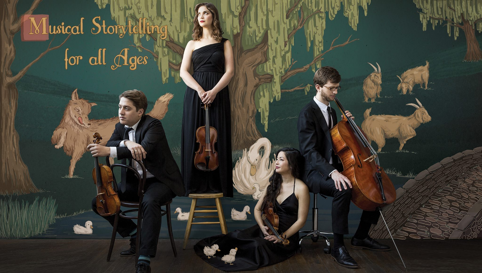 Aeolus Quartet in front of illustrated fables